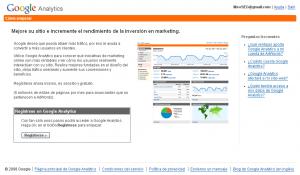 Acceso a la cuenta de Google Analytics (solo debe pulsar el botón Regístrese)