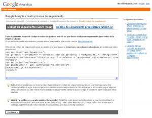 Página con el Tracking Code a copiar en todas sus páginas